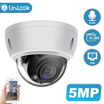 UniLook 5MP Dome POE IP Camera Built in Microphone Outdoor Security CCTV Camera Weatherproof IP 66 IR 30m Support ONVIF H.265 цена 2017