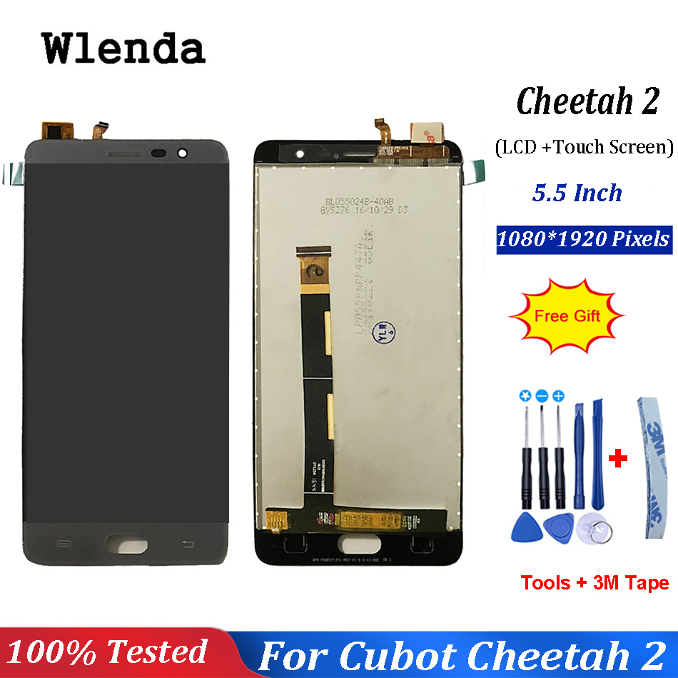 "5.5"" Inch Grey Gold Color For Cubot Cheetah 2 LCD Display With Touch Screen Glass Digitizer +Free Tools"