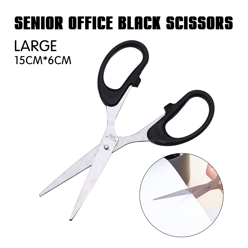1p Senior Office Black Scissors (large Size) Office Essentials Stainless Steel Scissors Paper Scissors Manual Scissors 3 Sizes