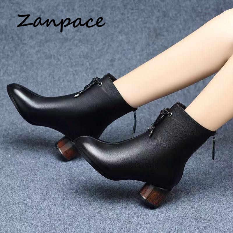 Zanpace 2019 Da Giày Bốt Nữ Mùa Đông Đen Plus Nhung Dày Ấm Giày Nữ Dày Med Gót Ống Giày nữ Size 40