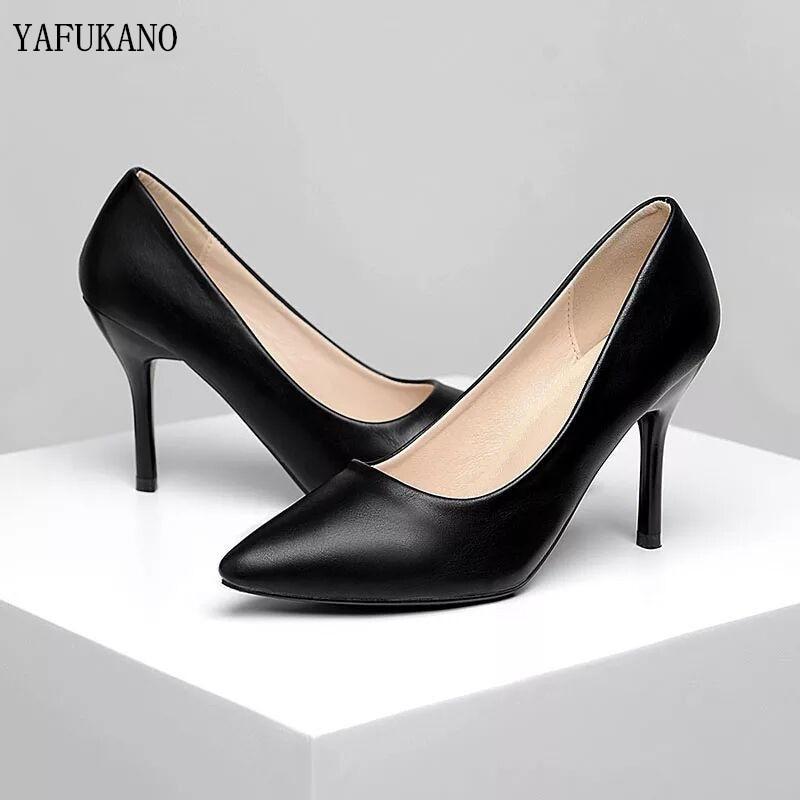 Туфли женские кожаные на высоком каблуке, простые удобные деловые туфли, пикантные, профессиональная обувь для работы, маленький размер 32, ч...