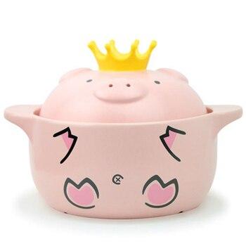 600Ml Pink Pig High Temperature Resistance Casserole Handle Ceramic Cooker Kitchen Supplies фото