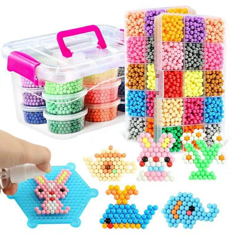 6000Pcs 36 Colors 5mm Water Kralen Spray Perler Magic Beads Educational 3D Puzzles Accessories For Children Toys DIY Magic Beads