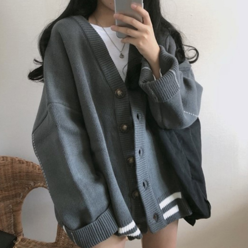 Women Fashion Casual Cardigans Sweaters Striped Female V-Neck Tops Oversized Long Sleeve Single Breasted Sweater