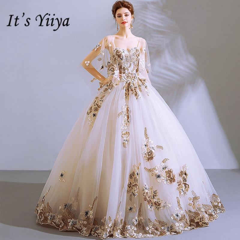 It's YiiYa Wedding Dress White Square Collar Ball Gown Floor Length Long Party Dress Custom Plus Size Wedding Dresses 2019 E289