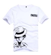 Brdwn Cosplay de una pieza, disfraz de Luffy, camiseta blanca Unisex de manga corta, camiseta con Logo de dibujos animados, Tops, ropa de verano