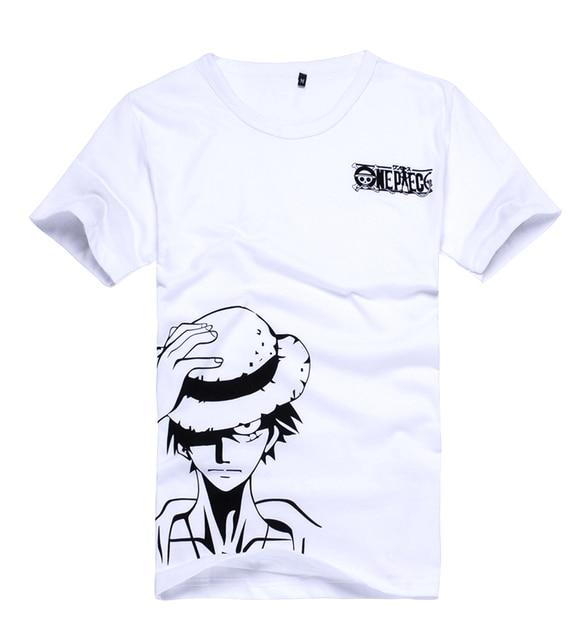 Brdwn One Piece Cosplay Luffy Kostuum Unisex Wit Korte Mouwen T shirt Cartoon Logo Tee Shirt Tops Zomer Dragen