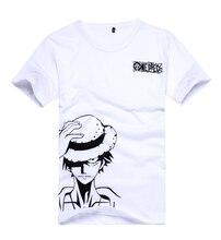 Brdwnคอสเพลย์One Piece Luffyเครื่องแต่งกายUnisexสีขาวสั้นเสื้อยืดการ์ตูนการ์ตูนโลโก้Teeเสื้อTopsฤดูร้อนสวมใส่
