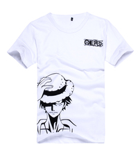 brdwn One Piece Cosplay Luffy Costume Unisex White Short Sleeved T Shirt Cartoon Logo Tee Shirt Tops Summer Wear