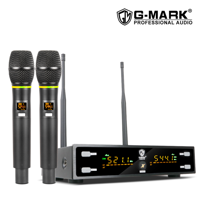 G-MARK X320FM Wireless Microphone Professional karaoke mic Frequency Adjustable metal body 80M receive singing chruch party