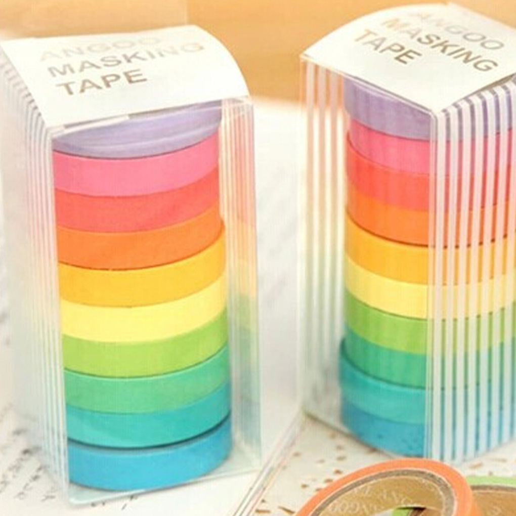 FangNymph 10pcs Rainbow Solid Color Paper DIY Decorative Tape Sticky Adhesive Sticker Notebook Dairy Ornaments