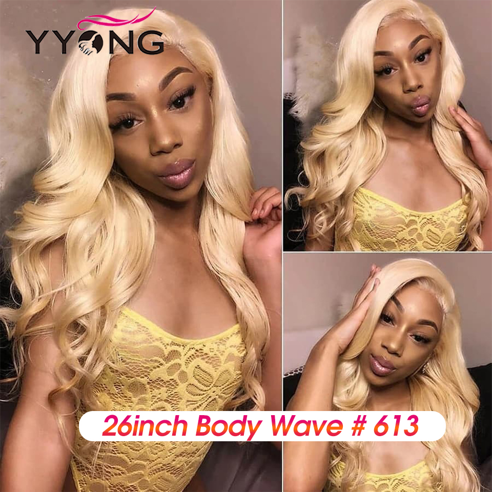 YYong613 Blond Lace Front  Wig  613 Body Wave Lace Closure Wig Pre Pluckeded Hairline  Can Be Colored 4