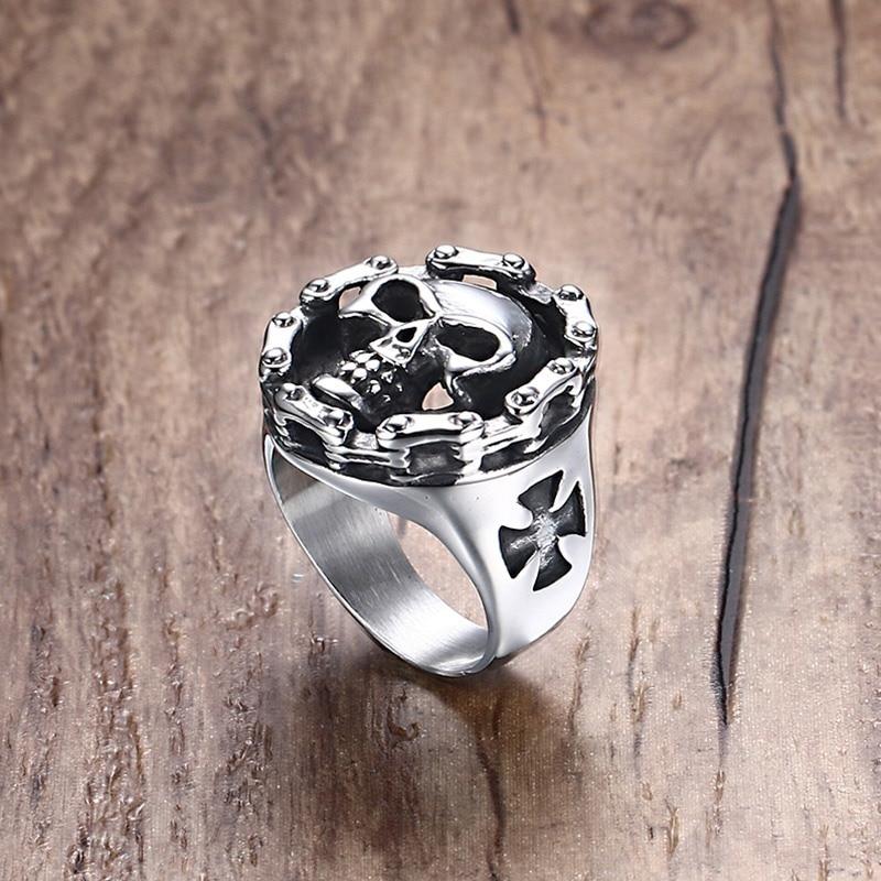 Muški prsten s motorom od nehrđajućeg čelika Lubanja lanac lubanje križ dan 'Halloween' nakit