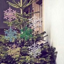 8pcs Christmas 3D Snowflakes Hanging Ornaments Glittering Decorations For Home Party Tree Decoration