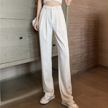Women Casual Solid Color Trousers Mopping Pants High Waist Suit Pants Female Straight Loose Pants Thin Wide-leg Pants New hyh haoyihui fashion women pants 2017 summer solid suits ol high waist wide legged loose female straight trousers leisure pants