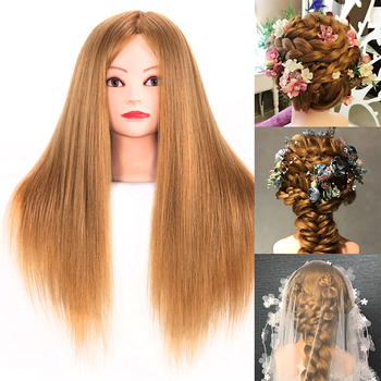 Training Heads Hair 85% Human Hair 60CM Styling Hairdressing Practice Curls Professional Mannequin Head Doll 85% real human hair mannequin head for hair training styling practice professional hairdressing cosmetology doll head for braid