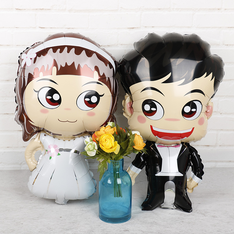 1pc 76*45cm Bride Groom Wedding Favors Foil Balloons Mariage Boy Girl Love Helium Balls Valentine's Day Event Party Supplies Toy