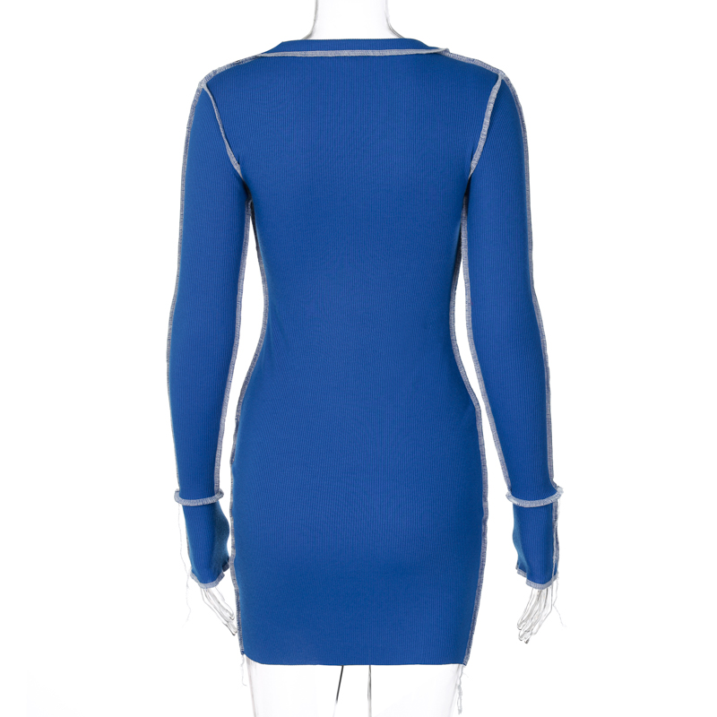 H9c752f4e6c864fc19e27c22d693198a3T - Hugcitar 2020 Long Sleeve Patchwork Sexy Mini Dress Autumn Winter Women Fashion Streetwear Outfits Clit Club Y2K Clothing