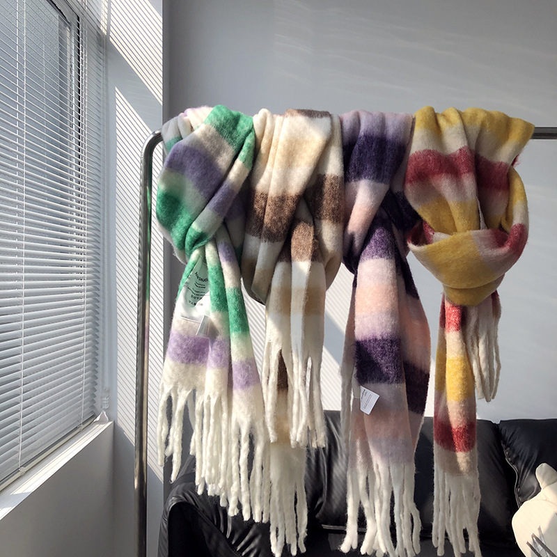 2020 Winter Color Matching Thickened Scarf Shawl Female Korean Style Versatile Four Color Gradient Tie Dye Scarf