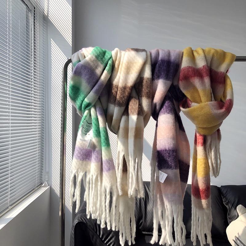 Bufanda gruesa a juego de Color de invierno 2020 chal femenino estilo coreano versátil cuatro colores degradado Tie Dye bufanda