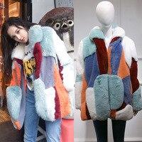 Faux Fur Coat 2020 Women Winter Warm Patchwork Soft Fur Fluffy Coats Female Long Overcoat Outwear manteau fourrure femme L512