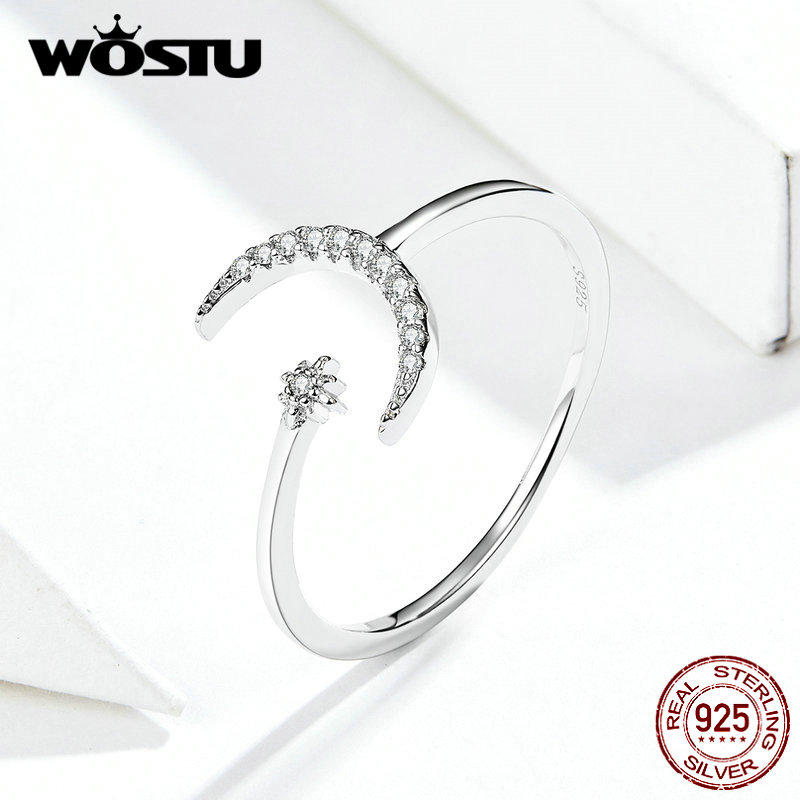 WOSTU Moon Wedding Opening Rings Real 925 Sterling Silver For Women Dazzling Zircon Adjustable Rings Fine Jewelry Gift FIR569
