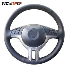 WCaRFun DIY dostosowana nazwa ręcznie czarny z nitką sztuczna skóra osłona na kierownicę do samochodu dla BMW E39 E46 325i E53 X5