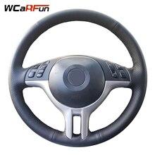 Wcarfun diy 사용자 정의 이름 핸드 스티치 블랙 인공 가죽 자동차 핸들 커버 bmw e39 e46 325i e53 x5