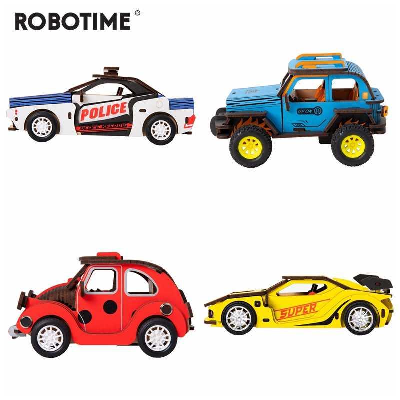 Robotime 4 أنواع الجمود الطاقة ثلاثية الأبعاد الخشب Puzzel نموذج سيارة بناء مجموعات للأطفال