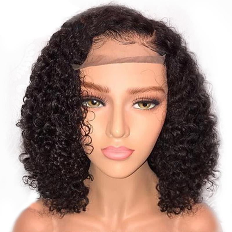 Short Curly Jerry Lace Front Fiber Hair Wigs With Baby Hair Brazilian Curly Short Remy Hair Wigs For Women Pre-Plucked Wig Drop