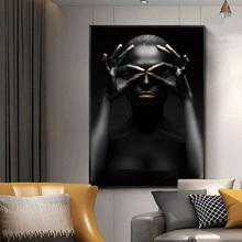 Black Girl With Golden Lips Canvas Paintings On The Wall Art Posters And Prints African Art Wall Pictures Home Wall Decoration