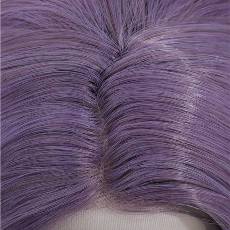 RONGDUOYI 12 Cal krótkie włosy z włókna wysokowytrzymałego syntetyczna koronka peruki dla kobiet fioletowy koronkowa fala krótki przód peruka z przedziałek z boku