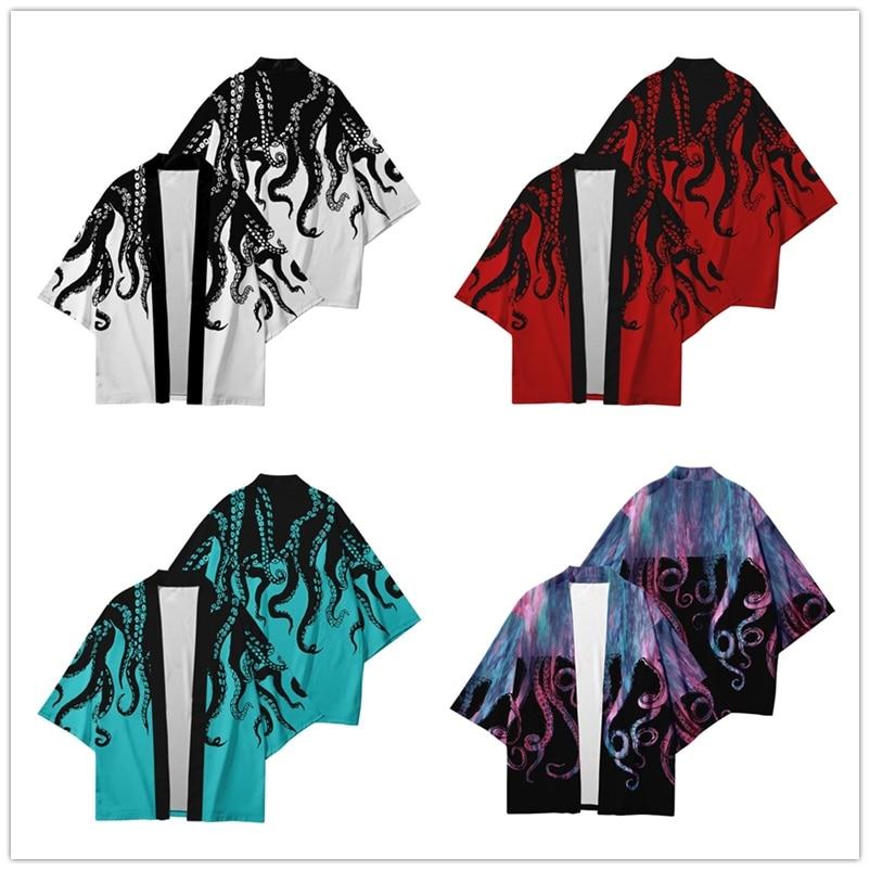 Octopus 3D Printing Japanese Kimono Haori Yukata Cosplay Women/Men Fashion Short Sleeve Kimono Shirts Streetwear Cardigan Coats
