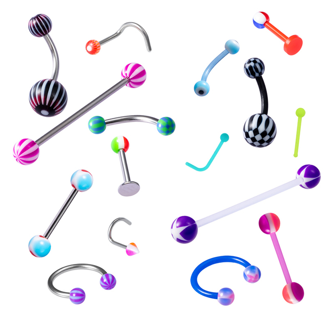 8PCS Multi-shaped Lip Ring Internally Threaded Nose Ring Piercing Eyebrow Ring Sexy Belly Ring Hot Sell Nail Stud Body Jewelry 2