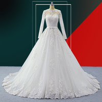 Wuzhiyi High Quality A Line Wedding Dress Long Bridal Gown O neck Luxury Sashes Robe de Marie Marie Bow Wedding Gown Customise