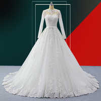 wuzhiyi heigh qulity A-line wedding dress long vestido de noiva o neck luxry sashes robe de mariee bow wedding Grown Customise