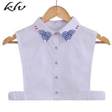 Japanese Womens Doll False Fake Collar Semicircle Stripes Embroidery Half Shirt