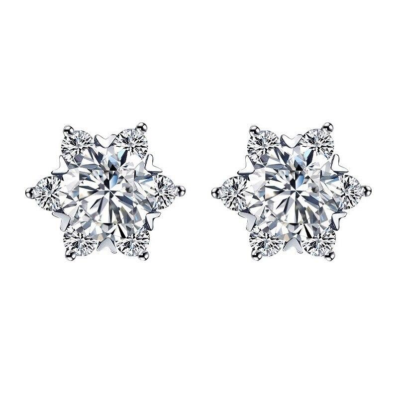 Paillettes 0.3ct D couleur flocon de neige Moissanite platine plaqué or S925 argent boucles d'oreilles pour femmes petite amie mariée cadeau de mariage
