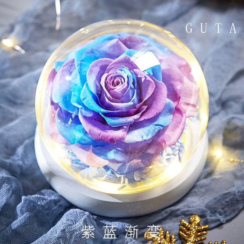 Вечная эксклюзивная Роза в стеклянном куполе Красавица и Чудовище Роза романтические подарки на день Святого Валентина подарок на Рождество подарки на праздник - Цвет: G09-P