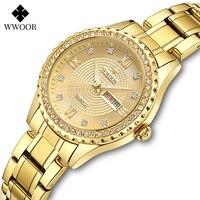 WWOOR Mode Kleid Uhr Für Frauen Design Luxus Quarz Handgelenk Uhren Weibliche Diamant Damen Gold Armband Uhr Geschenk Für Frauen