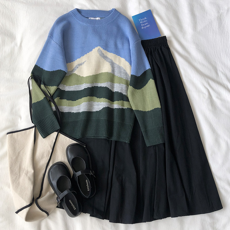 Korean Style Knitted Sweaters Women Loose Fuji Thick Long Sleeve Warm Sweater Female Jumpers (F1363