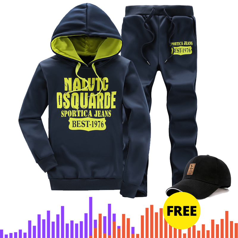 With Free Gift Mens Hooded Sportswear Set 2019 Male Suit Men's Spring Tracksuit Hoodie+Pants 2 Pieces Set Men Plus Size 5xl 1207