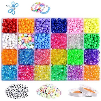 3640+Pcs Pony Beads Kit for Bracelet Jewelry Making, Hair Beads, Include 23 Colors Rainbow Beads 520 Letter Beads, 50 Color Bead фото