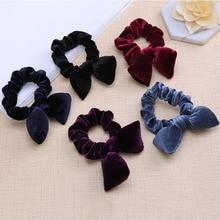 Hair-Tie Hair-Rubber-Accessories Velvet Scrunchies Rabbit-Ears Fabrics Girls Women