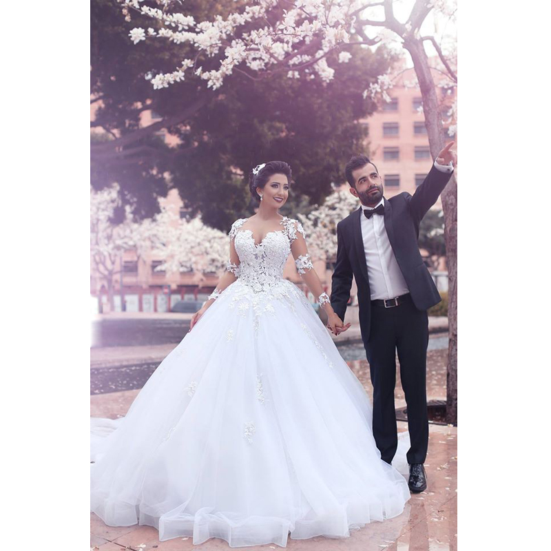 Arabic Style 2018 Custom Made Lace Bridal Gown Long Sleeve With Applique Cheap Vestido De Noiva Mother Of The Bride Dresses