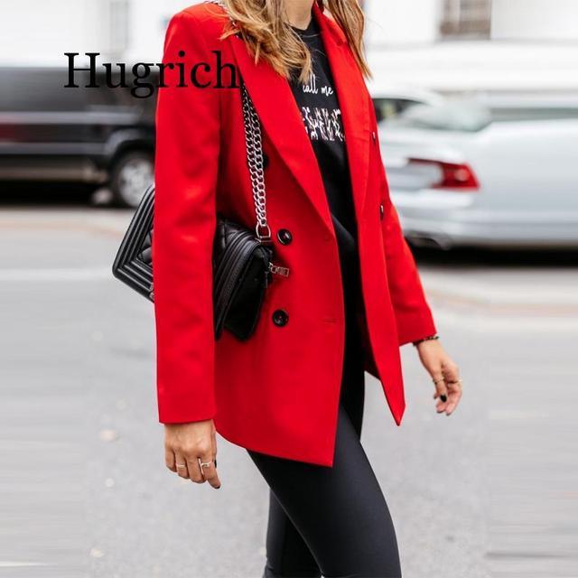 Blazer de moda de Color puro de manga larga para mujer 2020 5