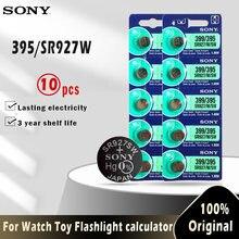 Sony celular original 395 sr927sw 399 sr927w ag7 lr927, botão de óxido de prata de 1.55v, célula de moeda para relógio de brinquedo com 10 peças bateria feita no japão