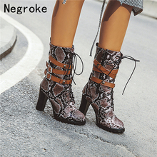 Sexy Python Leather Women Boots Leather Belt Lace-up High Heels Mid-Calf Boots Female Autumn Winter Shoes Botas Zapatos Mujer autumn winter new suede leather female beautiful fringe boots sexy high heel long tassel mid calf boots tide women mid calf boot