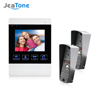 Jeatone 4 Inch TFT Wired Smart Video Door Phone Intercom System with 1 Night Vision Monitor +2x1200TVL Rainproof Doorbell Camera tmezon 7 inch tft wired smart video door phone intercom system with 2 night vision monitor 2x1200tvl rainproof doorbell camera