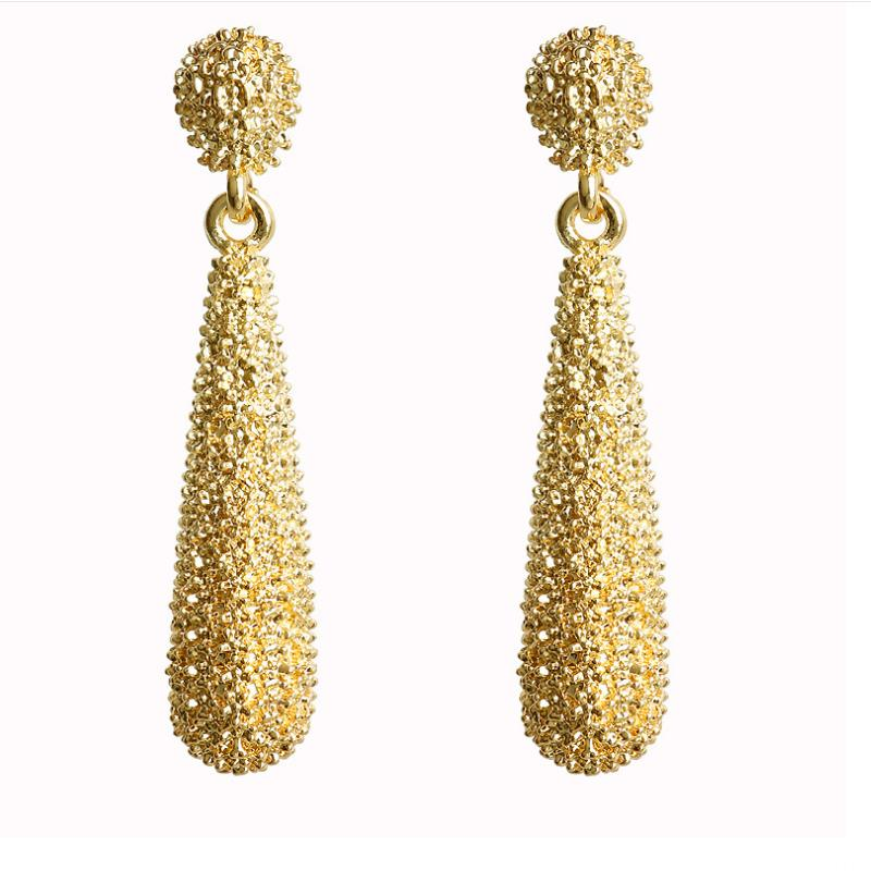 Женские длинные серьги-капельки, Винтажные серьги золотого цвета, нестандартные корейские украшения, 2020